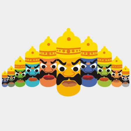 Ravan with Colourfull 10 heads