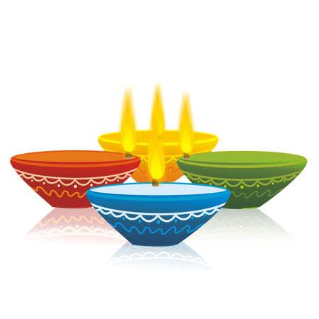 Colorful Diwali Lamps Illustration