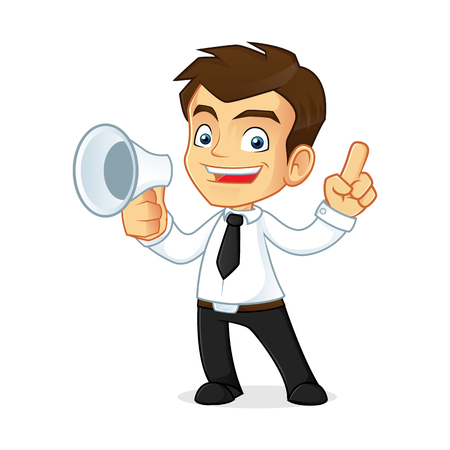 young business man: Cartoon illustration of a businessman