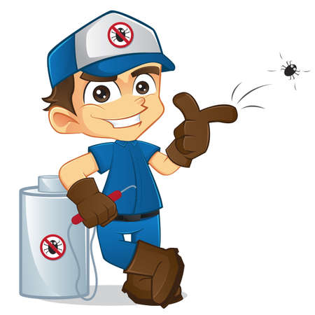 cartoon bug: Exterminator Throwing a Bug and Leaning Illustration
