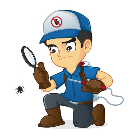 cartoon bug: Exterminator searching for bugs and kill them Illustration