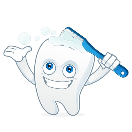 clean up: Tooth cartoon mascot brushing teeth Illustration
