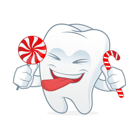 cleaning up: Tooth cartoon mascot eat candy