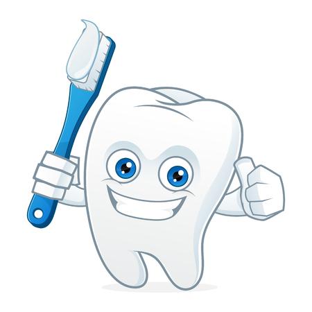 치아를 닦고 치아 만화 마스코트
