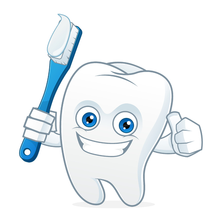 Tooth cartoon mascot brushing teeth Çizim