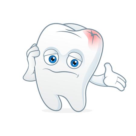 Tooth cartoon mascot had toothache