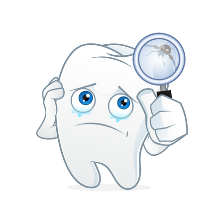 cleaning up: Tooth cartoon mascot had toothache