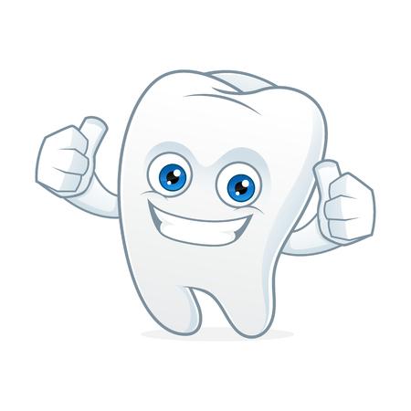 Tooth Cartoon-Maskottchen sauber und glücklich