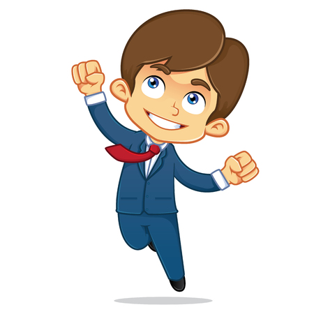 businessman jumping: Businessman Jumping Feeling Accomplished Illustration
