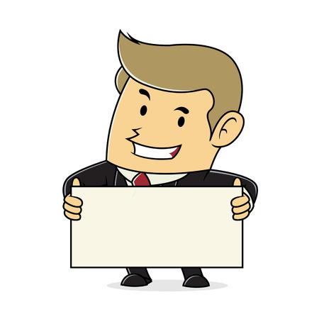 blank sign: Businessman Hold Blank Sign Illustration