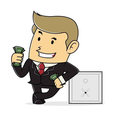 lean: Businessman Lean On Safe deposit Box and Hold Money Illustration