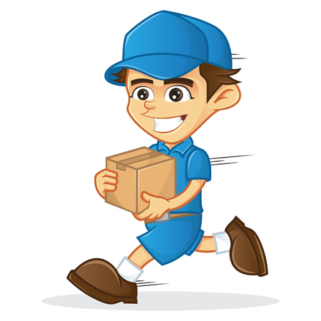 Delivery man running and holding a box isolated in white background