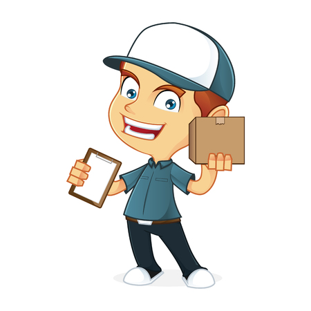 deliveryman: Delivery man holding a package Illustration