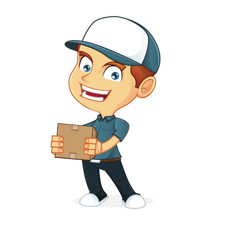 man holding: Delivery man holding a package Illustration