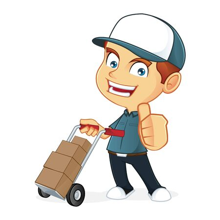 deliveryman: Delivery man holding a trolley Illustration