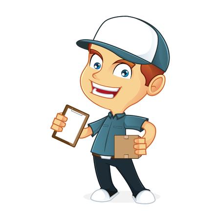 deliveryman: Delivery man holding a package Illustration