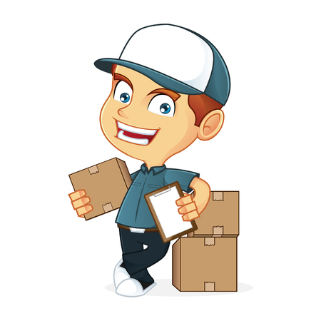 deliveryman: Delivery man leaning on package Illustration