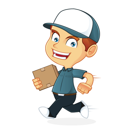 delivering: Delivery man running and delivering a package