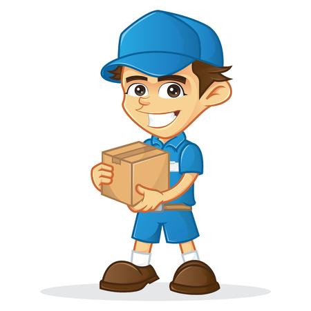 Livraison homme tenant une boîte isolé dans un fond blanc