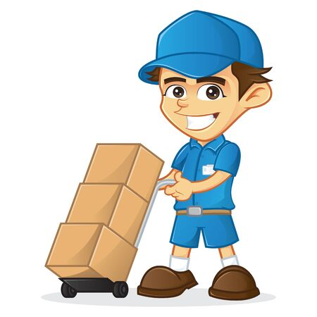 Delivery man holding a box isolated in white background