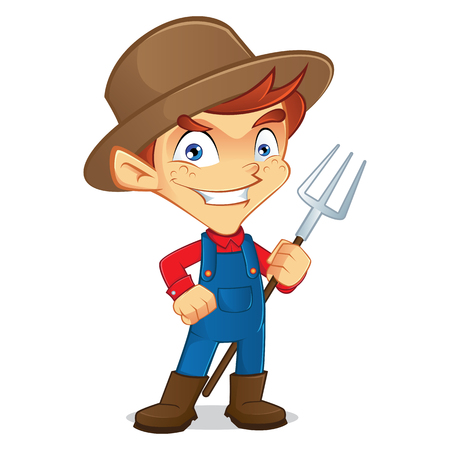 pitchfork: Farmer holding a pitchfork Illustration