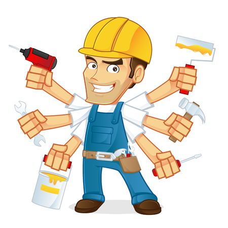 young worker: Handyman holding multiple tools