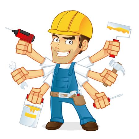 arquitecto caricatura: Manitas que lleva varias herramientas Vectores