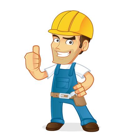 obrero caricatura: Manitas que da el pulgar para arriba
