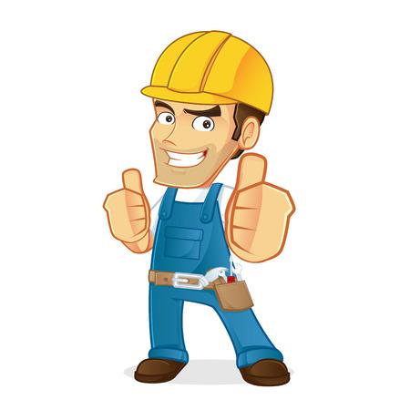 Handyman giving thumbs up Stock Illustratie