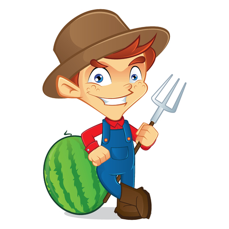happy farmer: Farmer holding a pitchfork Illustration