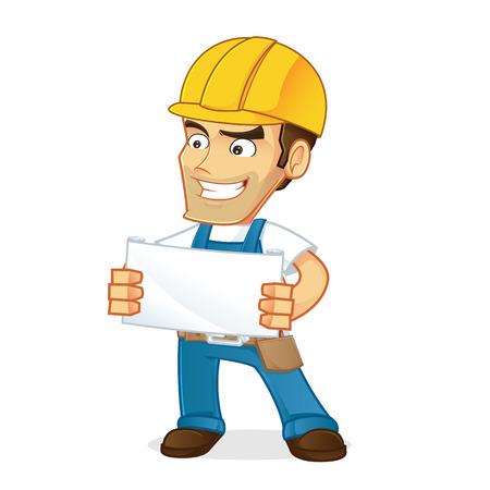young worker: Handyman reading plan Illustration