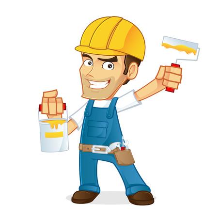Handyman holding paint and roller Stock Illustratie