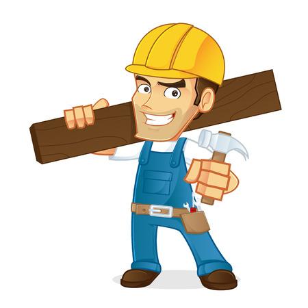 wood plank: Handyman holding wood plank