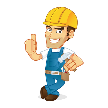 belt up: Handyman leaning and giving thumb up