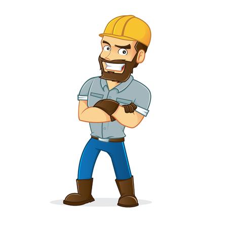 Miner folding hands
