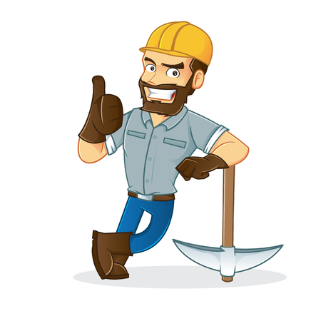 prospector: Miner apoyándose en pico
