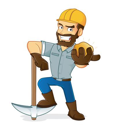 miner: Miner holding pickax and gold Illustration