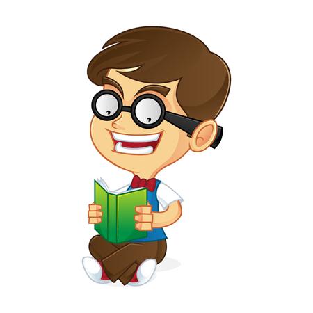 dork: Nerd boy reading book