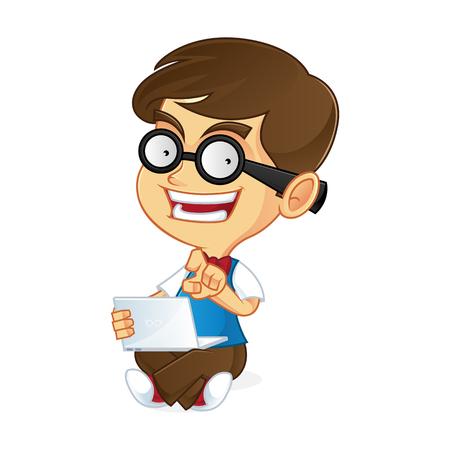 dork: Nerd boy holding laptop Illustration