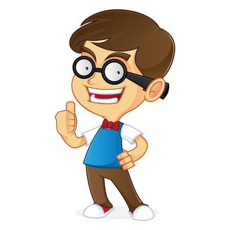 dork: Nerd boy giving thumbs up Illustration