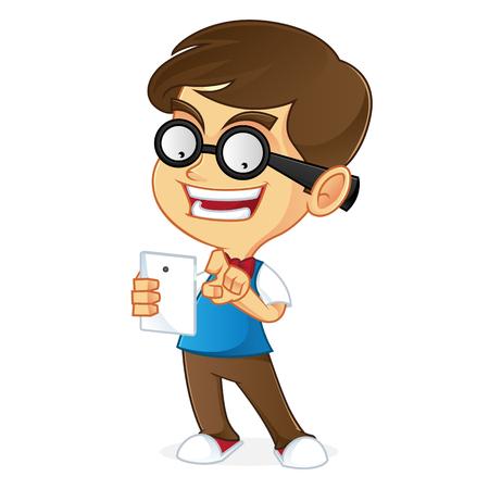 dork: Nerd boy holding tablet
