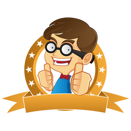 nerdy: Nerd boy giving thumbs up Illustration