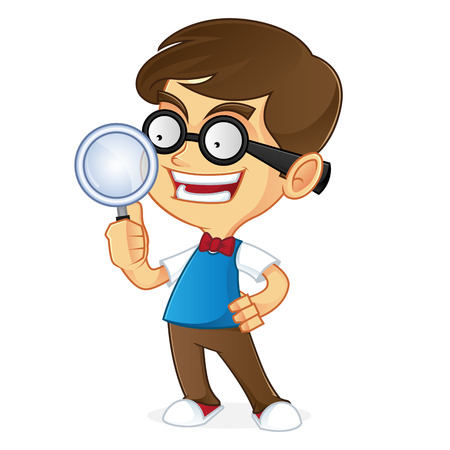 dork: Nerd boy holding magnifying glass
