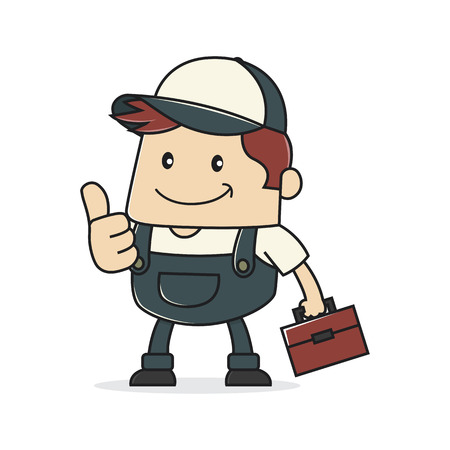worker cartoon: Plumber giving thumb up