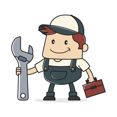 adjustable: Plumber holding adjustable wrench