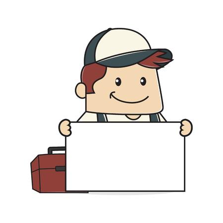 handy men: Plumber holding sign Illustration