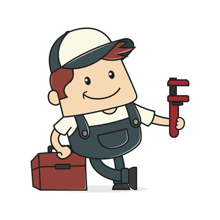 Plumber holding verstellbaren Schraubenschlüssel