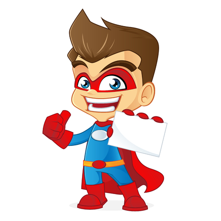 holding business card: Superhero holding business card