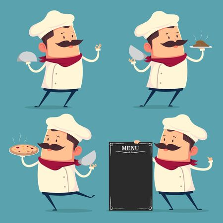 retro cartoon: Chef cartoon set in retro style
