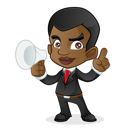 black business man: Black Business Man Holding Horn Speaker
